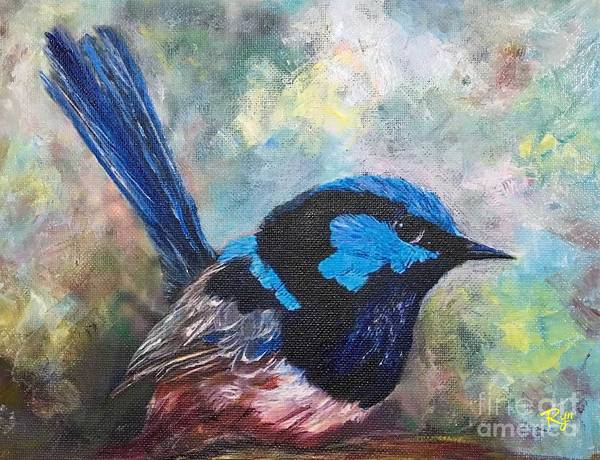 Painting - Superb Fairywren In Artist's Garden 1 by Ryn Shell