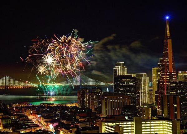 Photograph - Superbowl 50 Fireworks From Atop Russian Hill by John King