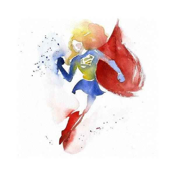 Blue Painting - Supergirl by Blue Mess Store