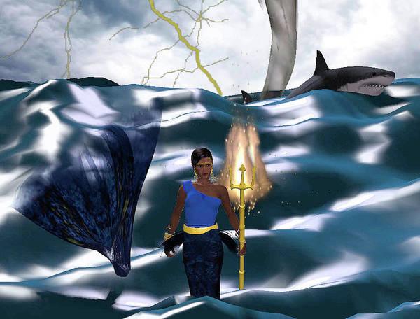Empyreal Digital Art - Superheroine Rescue At Sea by Rick Todd