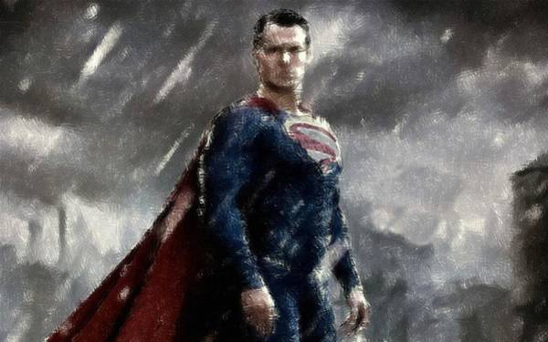 Drawing - Superman Oil Pastel Sketch by Movie Poster Prints