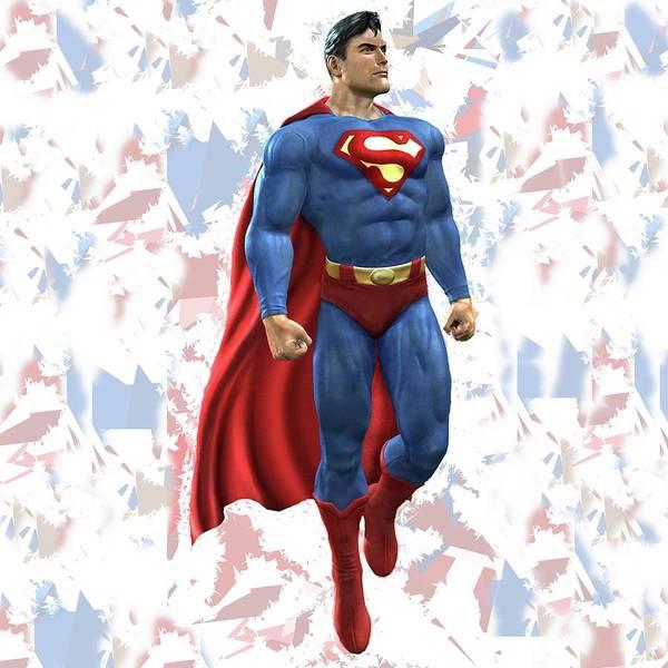 Mixed Media - Superman Splash Super Hero Series by Movie Poster Prints