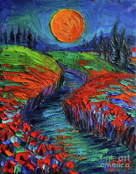 Wall Art - Painting - Supermoon And Poppies by Mona Edulesco