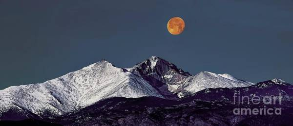 Photograph - Supermoon Lunar Eclipse Over Longs Peak by Jon Burch Photography