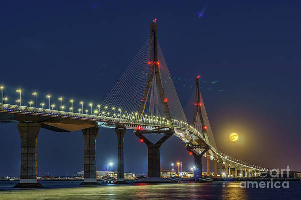 Photograph - Supermoon Over 1812 Constitution Bridge Cadiz Spain by Pablo Avanzini