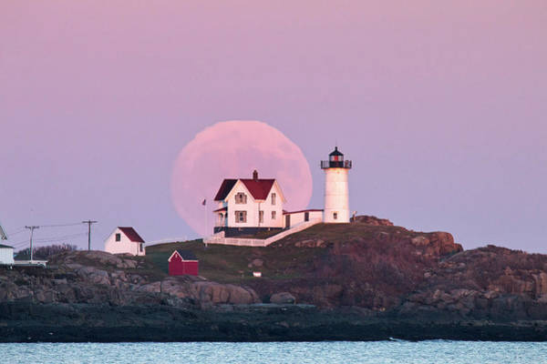 Wall Art - Photograph - Supermoon Over Nubble Lighthouse by Eric Gendron