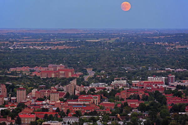 Photograph - Supermoon Rising Over The University Of Boulder Colorado by Toby McGuire