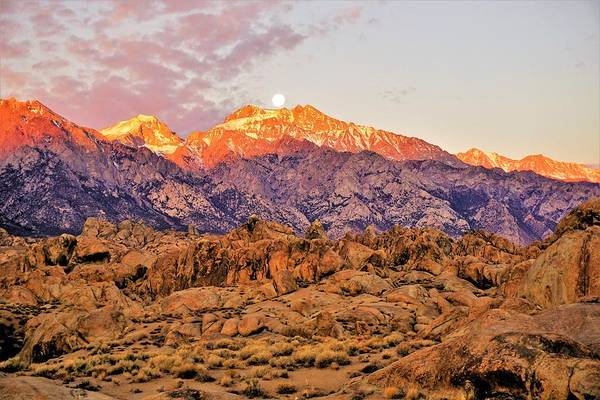 Photograph - Supermoon Setting At Sunrise Over Mount Williamson In The Sierra Nevada Mountains by Tranquil Light Photography