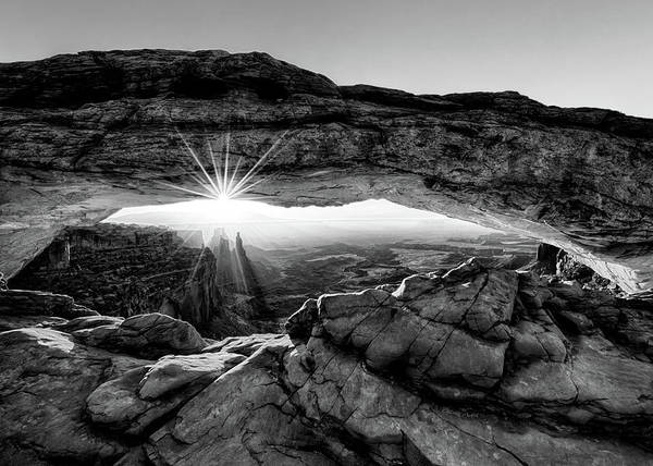 Digital Art - Supernatural West - Mesa Arch Sunburst In Black And White by OLena Art Brand