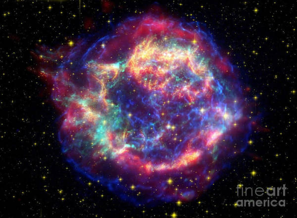 False Color Wall Art - Photograph - Supernova Remnant Cassiopeia A by Stocktrek Images