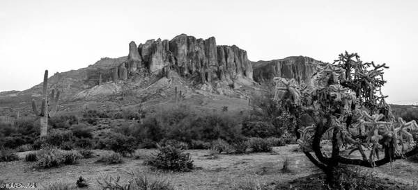 Photograph - Superstition Mountain B/w by Mike Ronnebeck