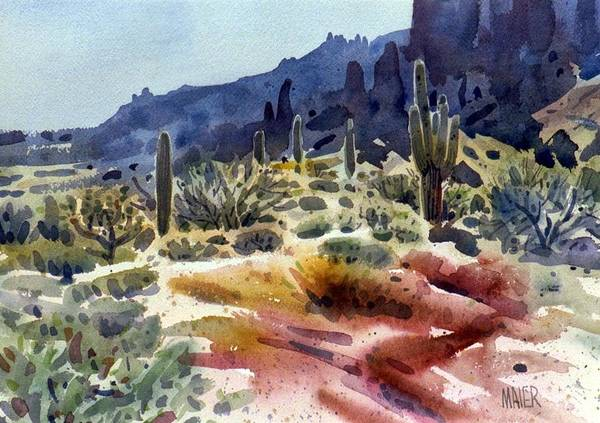Cactus Wall Art - Painting - Superstition Mountain by Donald Maier