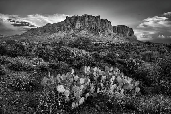 Dusty Photograph - Superstition Mountains In Black And White by Dave Dilli