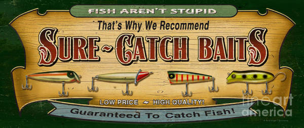 Painting - Sure Catch Baits Sign by JQ Licensing