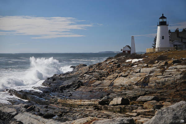 Photograph - Surf At Pemaquid Light by John Meader