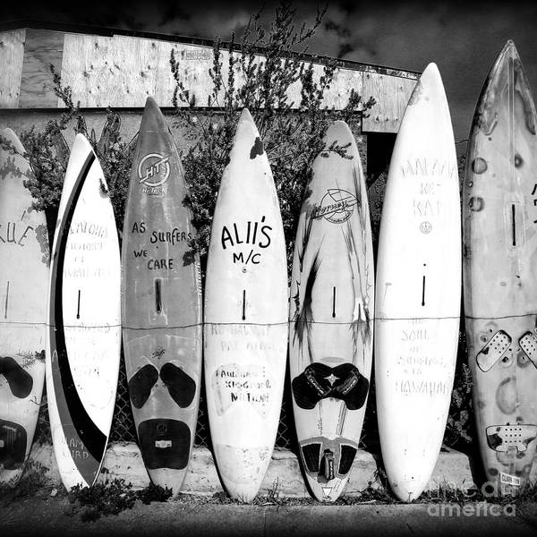 Wall Art - Photograph - Surf Board Fence Maui Hawaii Square Format by Edward Fielding