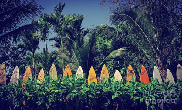 Wall Art - Photograph - Surf Board Fence Maui Hawaii Vintage by Edward Fielding