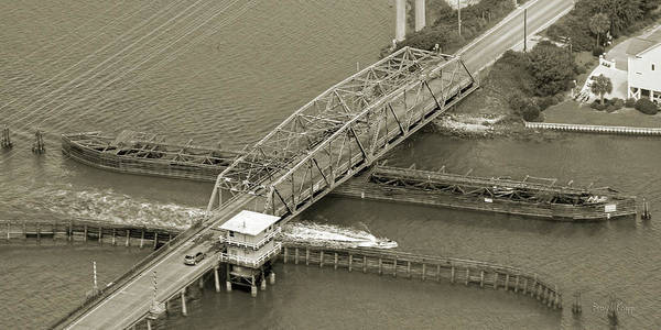 Road Side Photograph - Surf City Swing Bridge Sepia by Betsy Knapp