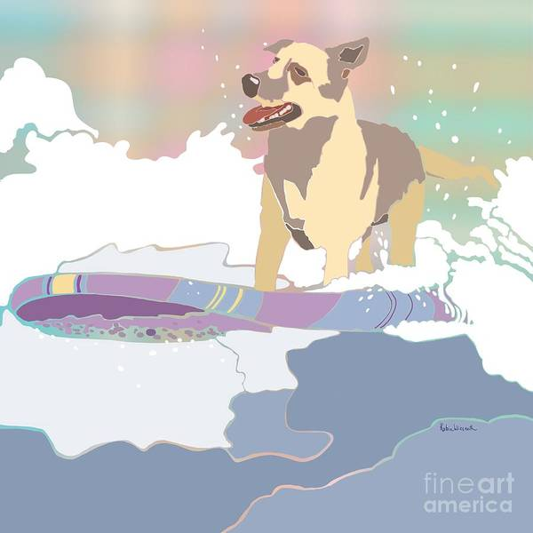 Wall Art - Painting - Surf Doggy by Robin Wiesneth