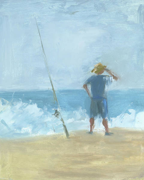 Outer Banks Painting - Surf Fishing by Chris N Rohrbach