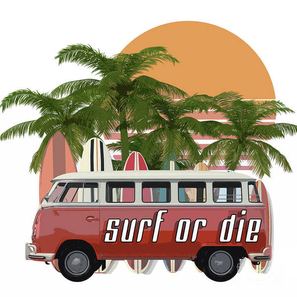 Surfer Digital Art - Surf Or Die 2 by Edward Fielding