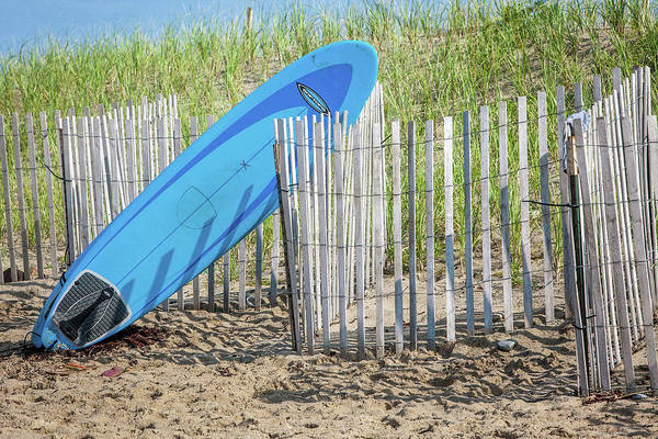 Surfboard Fence Photograph - Surfboard And Sandals by Art Block Collections