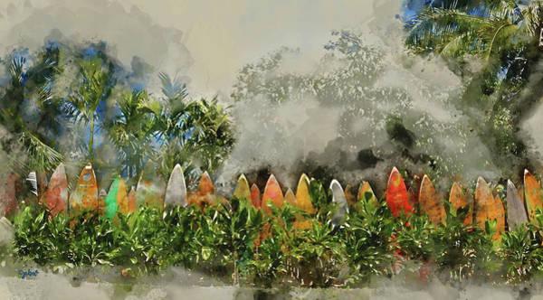 Digital Art - Surfboard Fence Wc by Paulette B Wright