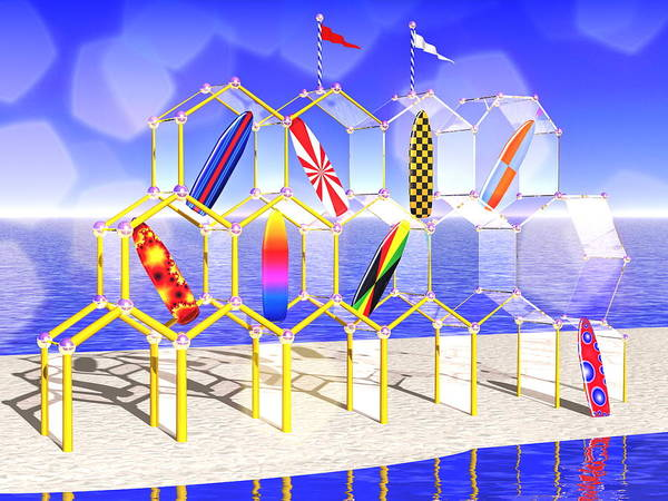Phantasy Digital Art - Surfboard Palace by Andreas Thust