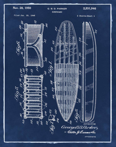 Wall Art - Photograph - Surfboard Patent 1950 Blue by Bill Cannon