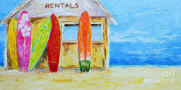 Painting - Surf Board Rental Shack At The Beach - Modern Impressionist Palette Knife Work by Patricia Awapara