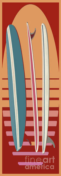 Digital Art - Surfboard Sunset by Edward Fielding