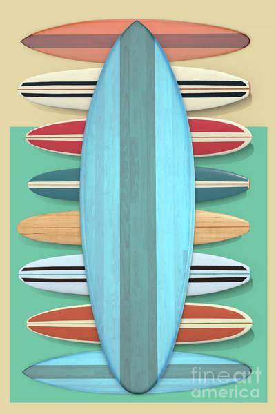 Digital Art - Surfboards Green Blue Design by Edward Fielding