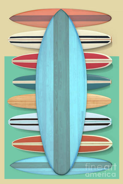 Wall Art - Digital Art - Surfboards Green Blue Design by Edward Fielding