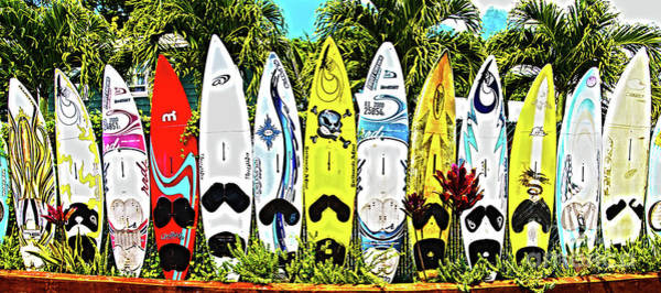 Surfboard Fence Photograph - Surfboards In Paia Maui Hawaii In Hdr by ELITE IMAGE photography By Chad McDermott