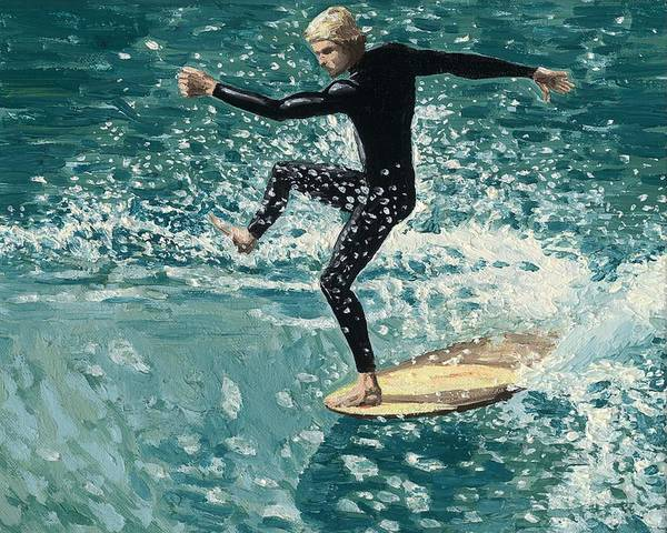 Wetsuit Wall Art - Painting - Surfer by Andrew Palmer