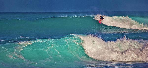 Surfer At Aneaho'omalu Bay Art Print