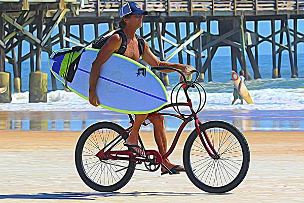 Photograph - Surfer By Bike by Alice Gipson