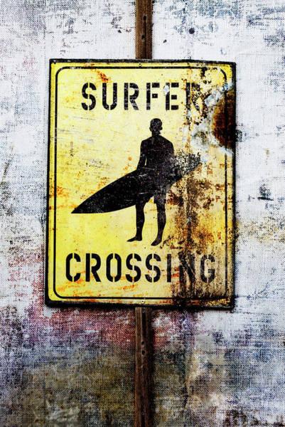 Crossing Wall Art - Mixed Media - Surfer Crossing by Carol Leigh