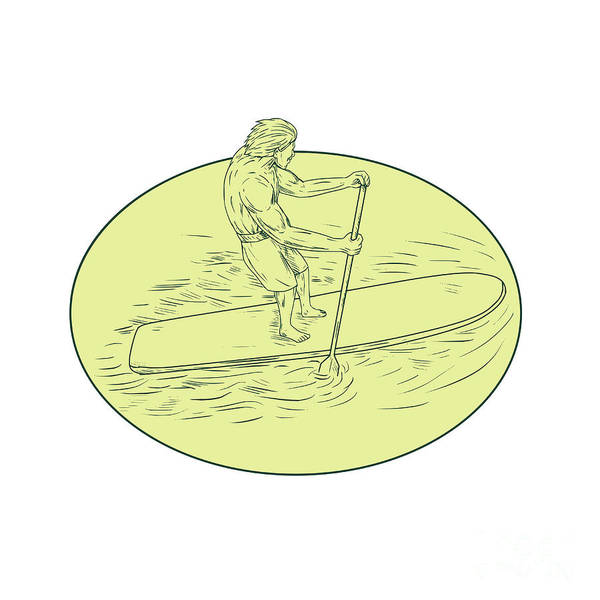 Oar Digital Art - Surfer Dude Stand Up Paddle Oval Drawing by Aloysius Patrimonio
