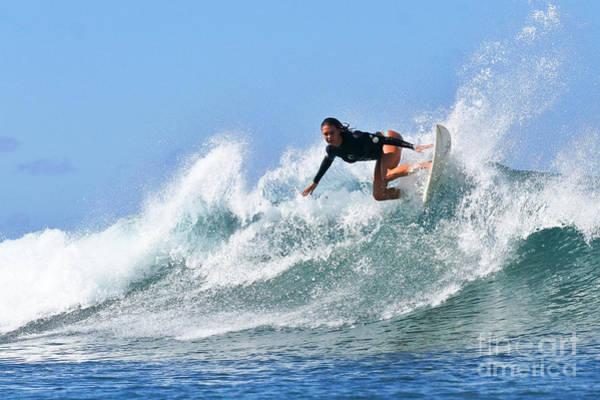 Surf Photograph - Surfer Girl At Bowls 5 by Paul Topp