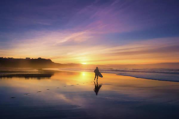 Surfer In Beach At Sunset Art Print