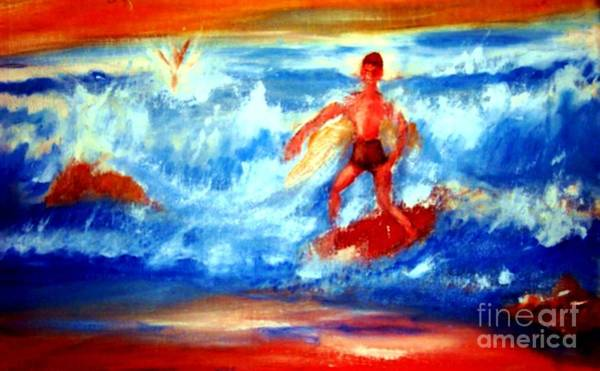Painting - Surfer In Monterey by Stanley Morganstein