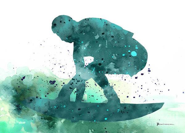 Surfer Painting - Surfer Silhouette Minimalist Painting by Joanna Szmerdt