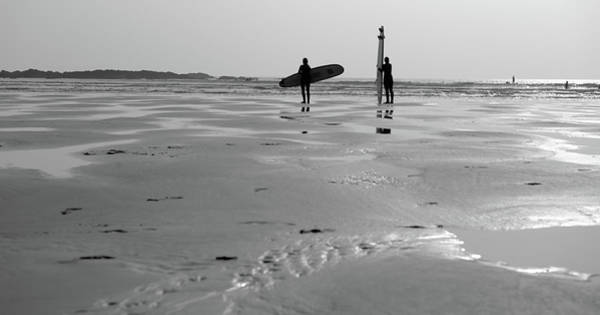 Photograph - Surfer Silhouettes by Helen Northcott