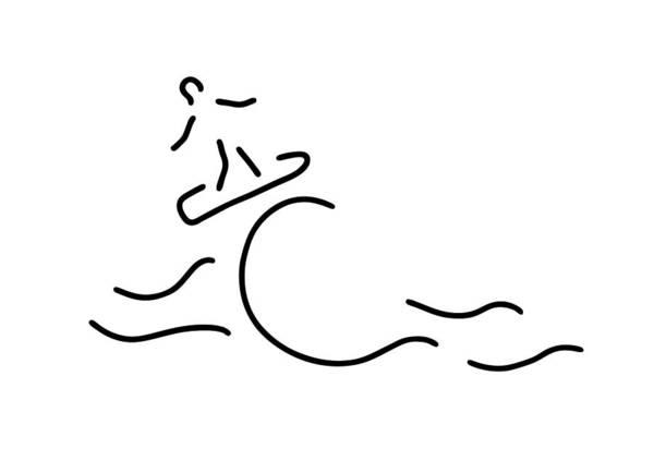 Lineart Drawing - Surfer Surfboard by Lineamentum