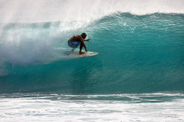 Photograph - Surfer Surfing In The Tube Of Blue Waves At Dumps Maui Hawaii by Pierre Leclerc Photography