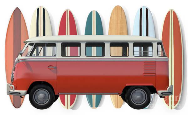 Wall Art - Digital Art - Surfer Van Tee by Edward Fielding