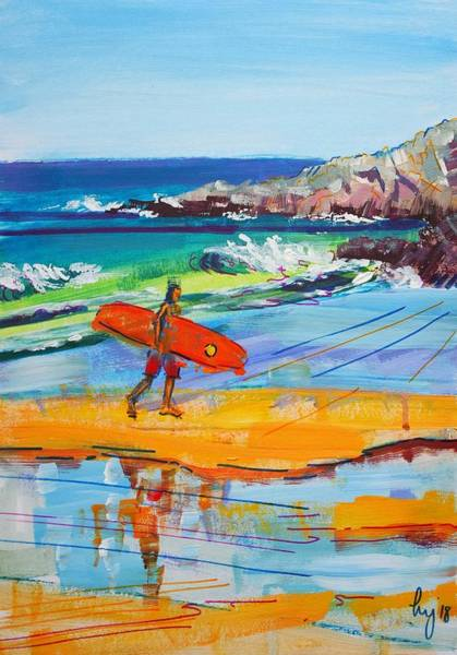 Mixed Media - Surfer Walking Back Up The Beach At Fistral Beach In Cornwall by Mike Jory
