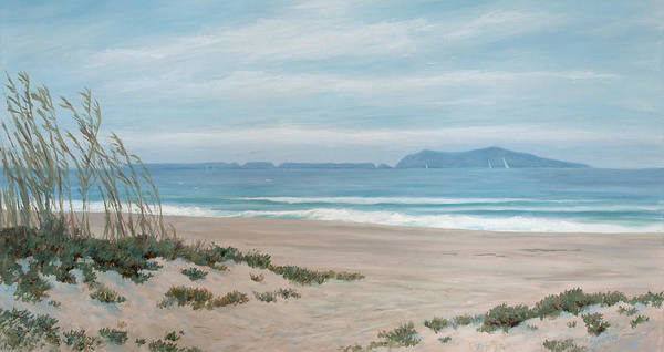 Surfer Painting - Surfers Knoll Anacapa View #5 by Tina Obrien