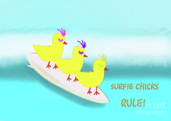 Digital Art - Surfie Chicks Rule 2 by Barefoot Bodeez Art
